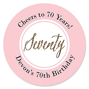 Chic 70th Birthday - Pink, Black and Gold - Personalized Birthday Party Sticker Labels - 24 ct