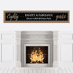 Chic 80th Birthday - Black and Gold - Personalized Birthday Party Banners