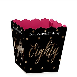 Chic 80th Birthday - Pink, Black and Gold - Party Mini Favor Boxes - Personalized Birthday Party Treat Candy Boxes - Set of 12