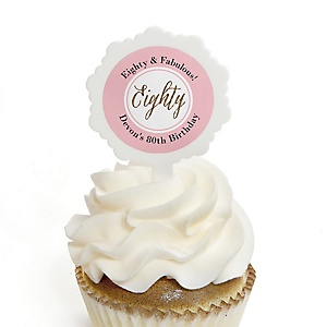 Chic 80th Birthday - Pink, Black and Gold - Personalized Birthday Party Cupcake Pick and Sticker Kit - 12 ct
