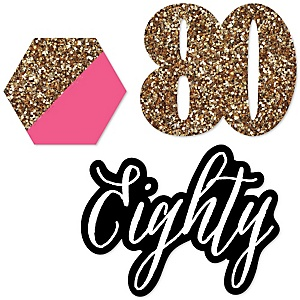 Chic 80th Birthday - Pink, Black and Gold - DIY Shaped Party Paper Cut-Outs - 24 ct