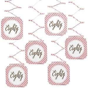 Chic 80th Birthday - Pink and Gold - Birthday Party Hanging Decorations - 6 ct