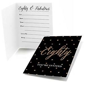Chic 80th Birthday - Black and Gold - Birthday Party Fill In Invitations - 8 ct