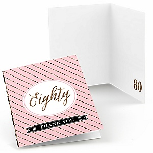Chic 80th Birthday - Pink, Black and Gold - Birthday Party Thank You Cards - 8 ct