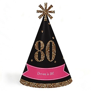 Chic 80th Birthday - Pink, Black and Gold - Personalized Cone Happy Birthday Party Hats for Kids and Adults - Set of 8 (Standard Size)