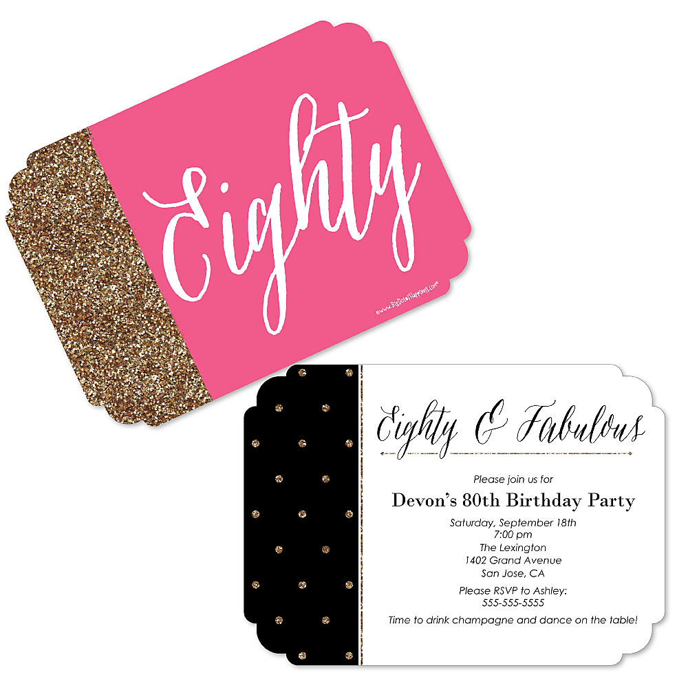 Chic 80th Birthday Pink Black And Gold Shaped Party Invitations Set Of 12