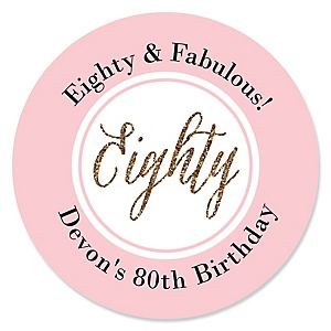 Chic 80th Birthday - Pink, Black and Gold - Personalized Birthday Party Sticker Labels - 24 ct