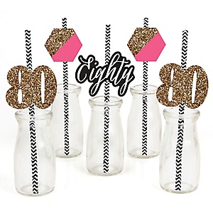 Chic 80th Birthday - Pink, Black and Gold - Paper Straw Decor - Birthday Party Striped Decorative Straws - Set of 24