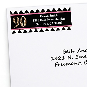 Chic 90th Birthday - Pink, Black and Gold - Personalized Birthday Party Return Address Labels - 30 ct