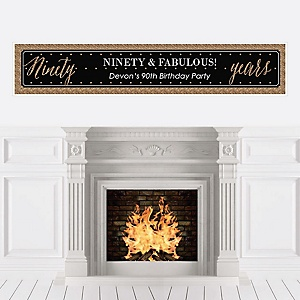 Chic 90th Birthday - Black and Gold - Personalized Birthday Party Banners