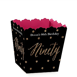 Chic 90th Birthday - Pink, Black and Gold - Party Mini Favor Boxes - Personalized Birthday Party Treat Candy Boxes - Set of 12