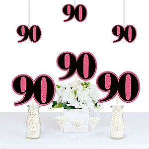 Chic 90th Birthday - Pink, Black and Gold - Decorations DIY Party Essentials - Set of 20