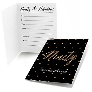 Chic 90th Birthday - Black and Gold - Birthday Party Fill In Invitations - 8 ct