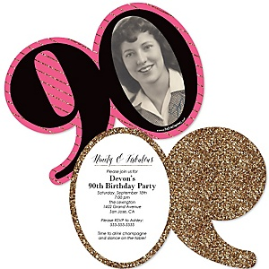 Chic 90th Birthday - Pink, Black and Gold - Personalized Shaped Photo Birthday Party Invitations - Set of 12