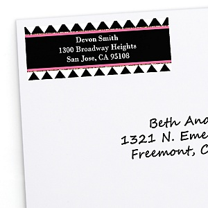 Chic Happy Birthday - Pink, Black and Gold - Personalized Birthday Party Return Address Labels - 30 ct