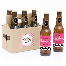 Chic Happy Birthday - Pink, Black and Gold - Decorations for Women and Men - 6 Beer Bottle Labels and 1 Carrier - Birthday Gift