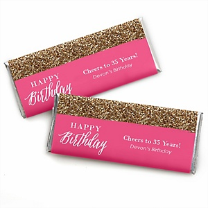 Chic Happy Birthday - Pink and Gold - Personalized Candy Bar Wrappers Birthday Party Favors - Set of 24