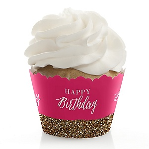 Chic Happy Birthday - Pink and Gold - Birthday Decorations - Party Cupcake Wrappers - Set of 12
