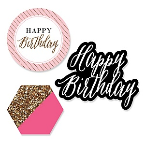 Chic Happy Birthday - Pink, Black and Gold - DIY Shaped Party Paper Cut-Outs - 24 ct