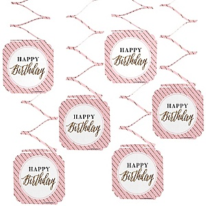 Chic Happy Birthday - Pink and Gold - Birthday Party Hanging Decorations - 6 ct