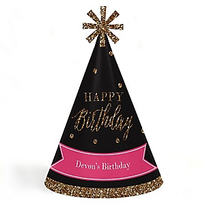 Chic Happy Birthday - Pink, Black and Gold - Personalized Cone Happy Birthday Party Hats for Kids and Adults - Set of 8 (Standard Size)