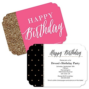 Chic Happy Birthday - Pink, Black and Gold - Shaped Birthday Party Invitations - Set of 12