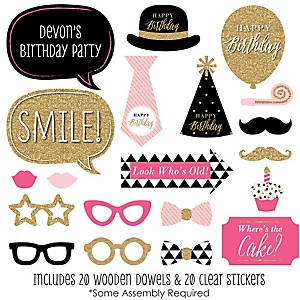 Chic Happy Birthday - Pink, Black and Gold - 20 Piece Photo Booth Props Kit
