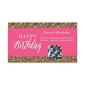 Chic Happy Birthday - Pink and Gold - Personalized Birthday Party Game Scratch Off Cards - 22 ct