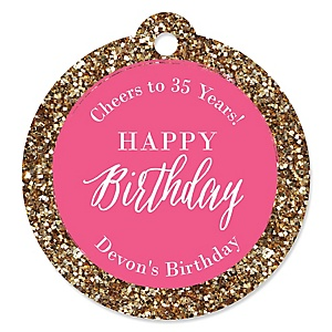 Chic Happy Birthday - Pink and Gold - Personalized Birthday Party Tags - 20 ct