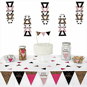 Chic Happy Birthday - Pink, Black and Gold -  Triangle Birthday Party Decoration Kit - 72 Piece