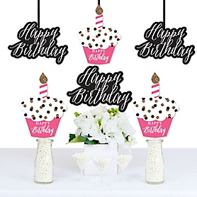 Chic Happy Birthday - Pink, Black and Gold - Decorations DIY Birthday Party Essentials - Set of 20