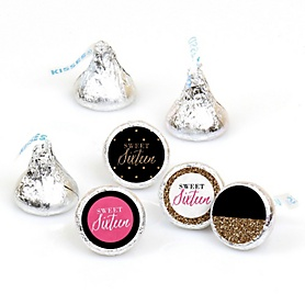 Chic 16th Birthday - Pink, Black and Gold - Round Candy Labels Birthday Party Favors - Fits Hershey's Kisses - 108 ct