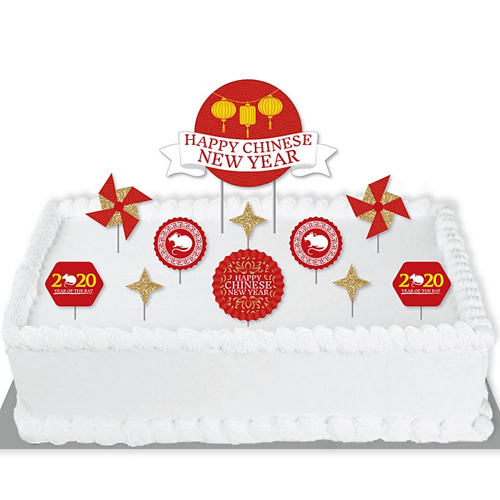 Chinese New Year - 2020 Year of the Rat Party Cake Decorating Kit - Cake Topper Set - 11 Pieces