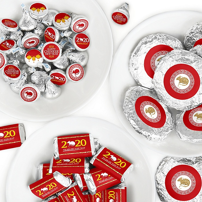 Chinese New Year - Mini Candy Bar Wrappers, Round Candy Stickers and Circle Stickers - 2020 Year of the Rat Party Candy Favor Sticker Kit - 304 Pieces