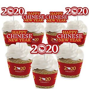 Chinese New Year - Cupcake Decoration - 2020 Year of the Rat Party Cupcake Wrappers and Treat Picks Kit - Set of 24