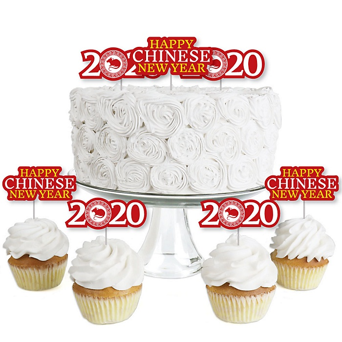Chinese New Year - Dessert Cupcake Toppers - 2020 Year of the Rat Party Clear Treat Picks - Set of 24