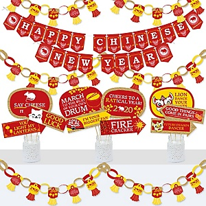 Chinese New Year - Banner and Photo Booth Decorations - 2020 Year of the Rat Party Supplies Kit - Doterrific Bundle