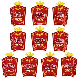 Chinese New Year - Table Decorations - 2020 Year of the Rat Party Fold and Flare Centerpieces - 10 Count