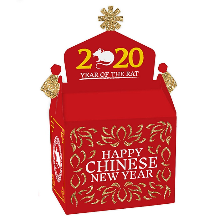 Chinese New Year - Treat Box Party Favors - 2020 Year of the Rat Party Goodie Gable Boxes - Set of 12