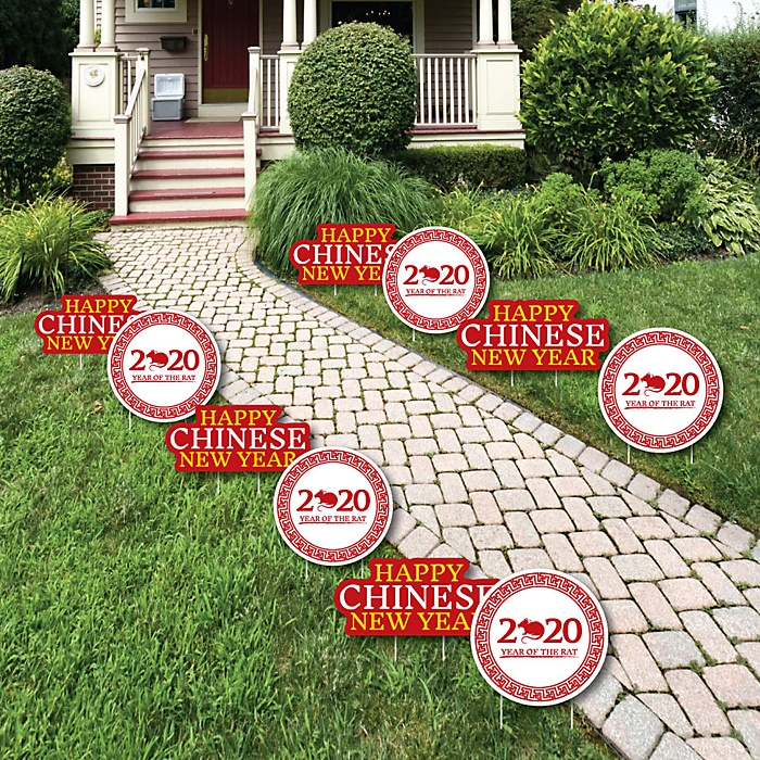 Chinese New Year - Rat Lawn Decorations - Outdoor 2020 Year of the Rat Yard Decorations - 10 Piece