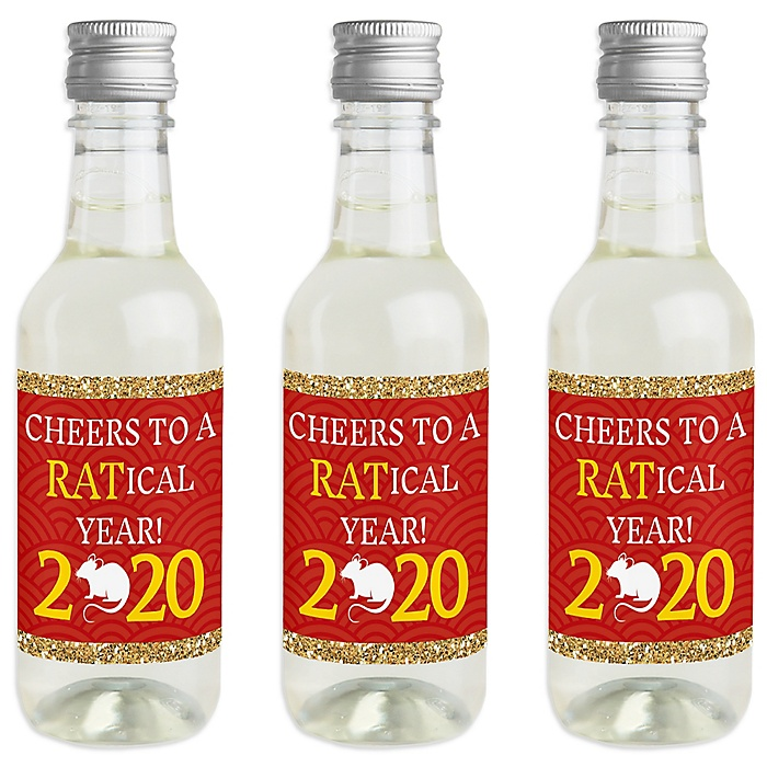 Chinese New Year - Mini Wine and Champagne Bottle Label Stickers - 2020 Year of the Rat Party Favor Gift - For Women and Men - Set of 16