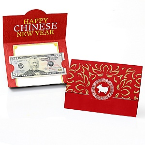 Chinese New Year - Money Holder Cards - Chinese New Year Gift with Red Envelope Design - Set of 8