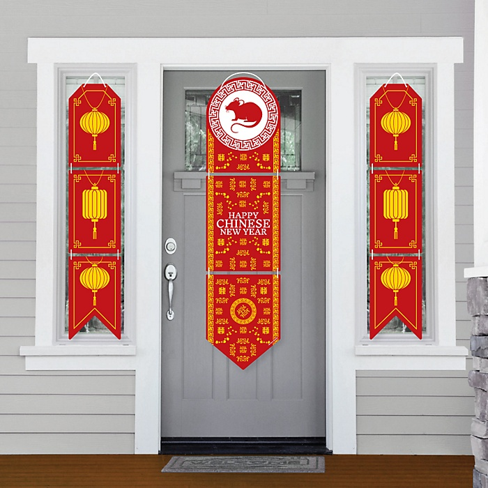 Chinese New Year - Hanging Porch Front Door Signs - Year of the Rat Party Banner Decoration Kit - Outdoor Door Decor