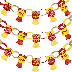Chinese New Year - 90 Chain Links and 30 Paper Tassels Decoration Kit - 2020 Year of the Rat Party Paper Chains Garland - 21 feet