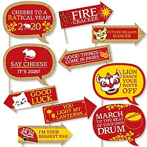 Funny Chinese New Year - 10 Piece 2020 Year of the Rat Photo Booth Props Kit