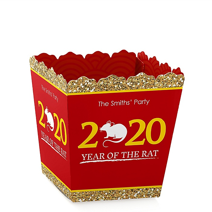 Chinese New Year - Party Mini Favor Boxes - Personalized 2020 Year of the Rat Party Treat Candy Boxes - Set of 12