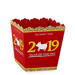 Chinese New Year - Party Mini Favor Boxes - Personalized 2019 Year of the Pig Party Treat Candy Boxes - Set of 12