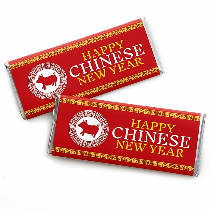 Chinese New Year -  Candy Bar Wrapper 2020 Year of the Rat Party Favors - Set of 24