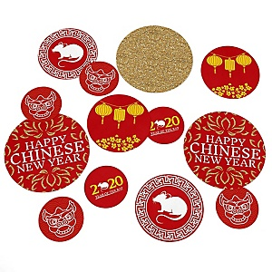Chinese New Year - 2020 Year of the Rat Party Giant Circle Confetti - New Year Party Decorations - Large Confetti 27 Count
