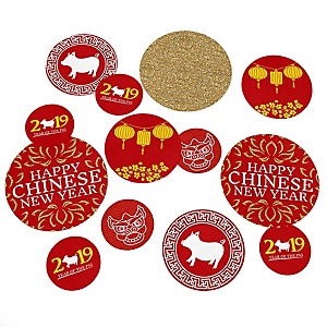Chinese New Year - Year of the Pig Party Giant Circle Confetti - New Year Party Decorations - Large Confetti 27 Count